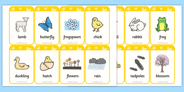 Spring Pictures and Words Flashcards - spring, season, visual aid