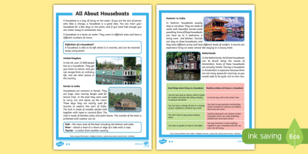 All About Houseboats Differentiated Fact File