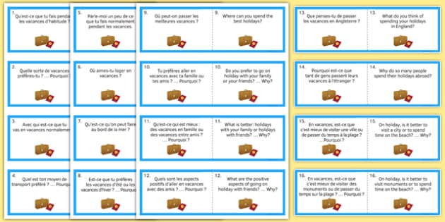 Travel and Tourism Question Cards French - Conversation, speaking, holidays, country, visit, translation, vacances, transport