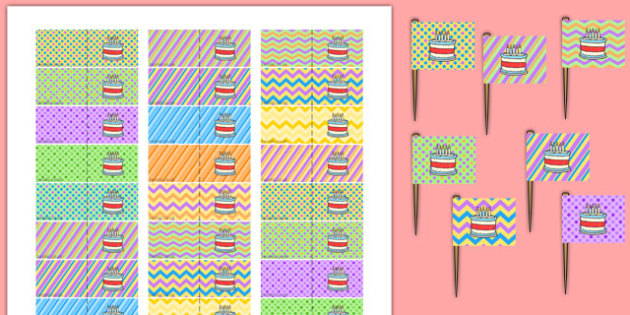 2nd Birthday Party Toothpick Flags - 2nd birthday, 2nd birthday party, birthday party, birthday, party, new parents, toothpick flags
