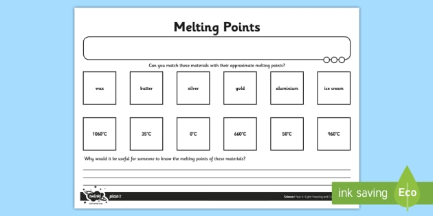 Activity Sheet Melting Points - melting, points, worksheet