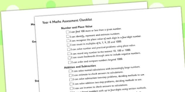 Year 4 Maths Assessment Checklist - maths, assessment, checklist