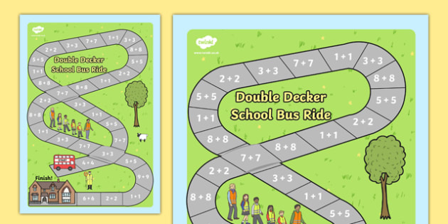Doubles Addition Bus Board Game - double, add, adding, maths