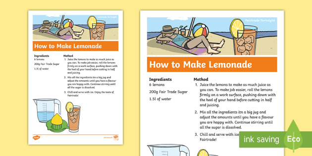 Fairtrade Fortnight Lemonade Recipe Teacher Made