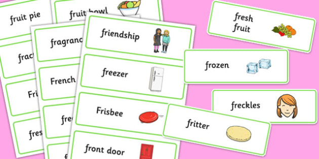 Two Syllable FR Word Cards - two syllable, fr, word cards, word, cards, fr sound