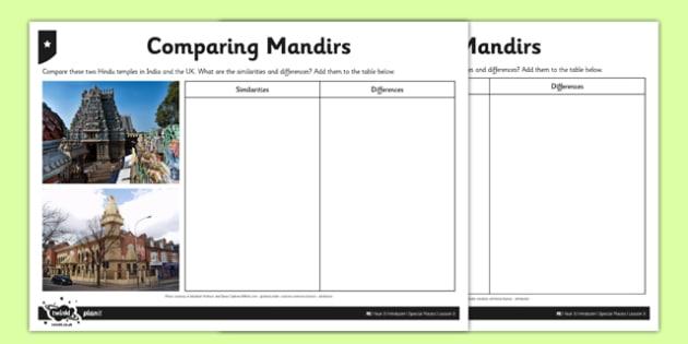Hinduism Activity Sheet Comparing Mandirs - hinduism, hindus, mandirs, temples, world, ks2, key stage 2, RE, worksheet
