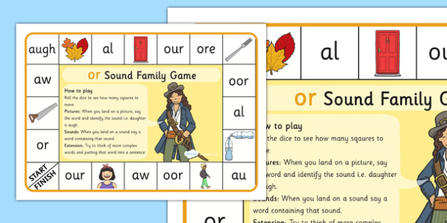 OR Sound Family Game - or, sound family, or sound, sound, game, activity