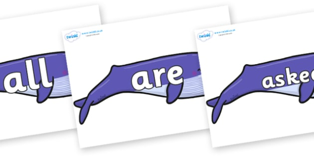 Tricky Words on Whales - Tricky words, DfES Letters and Sounds, Letters and sounds, display, words
