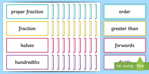 uks2 fractions key word cards