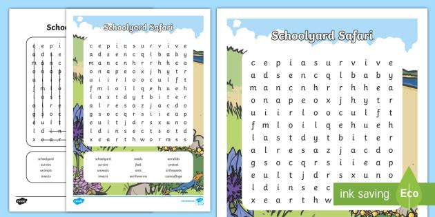 Schoolyard Safari Word Search - primary connections, ACSSU211