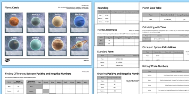 Maths Space Pack - maths, ks 3 ks 2, number, ordering, rounding, place value, writing, standard form, positive and negative number, sphere, area, volume