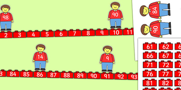 Building Brick Man Number Line Bonds 0 to 100 Matching Activity - building brick, number line, bonds