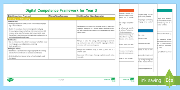 Digital Competence Framework Year 3 Planning Template