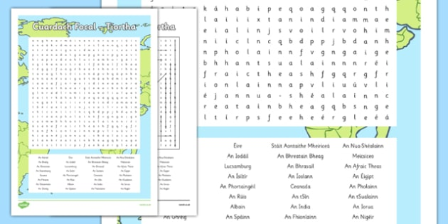 Irish Gaeilge Tíortha Word Search - irish, gaeilge, word search, pack, Tíreolaíocht