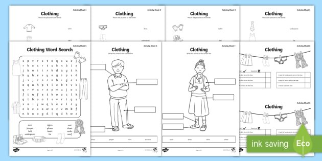 Clothes Worksheet / Worksheets - Clothes Worksheet / Worksheet Pack ...