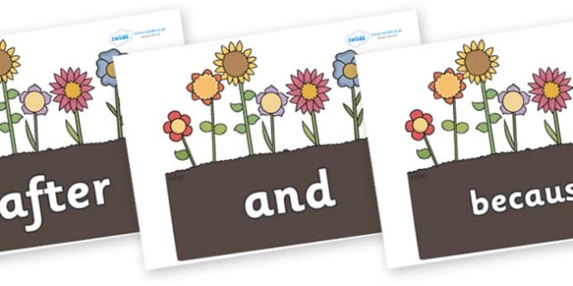 Connectives on Garden Flowers - Connectives, VCOP, connective resources, connectives display words, connective displays