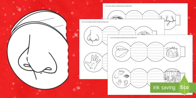 Christmas Senses Concertina Book Writing Frames