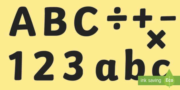 A4 Black Alphabet Display Lettering For