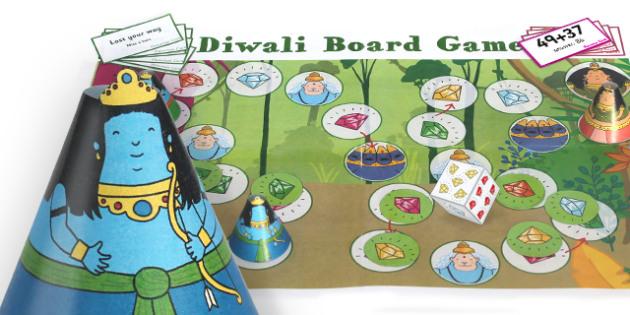 Diwali Addition to 100 Board Game - Diwali, Board, Game, Hanuman