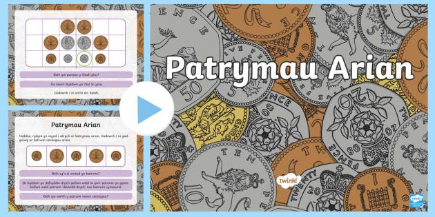 Pŵerbwynt Patrymau Arian - Pwerbwynt, arian, ceiniogau, patrymau, Cymraeg, Cyfnod allweddol 1, cyfnod sylfaen, mathemateg, cyfr