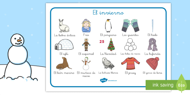 El invierno Tapiz de vocabulario - vocabulario clave, invernal