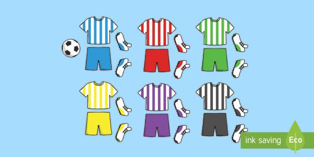 Football Kit Cut Outs - world cup, cutting skills, motor skills