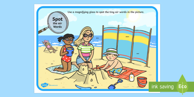 Phase 3 air Words Beach Scene Magnifying Glass Worksheet / Activity Sheet - phonics, letters and sounds, phase 3, air sound, magnifier, magnifying glass, find, activity, group,
