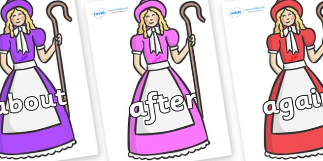 KS1 Keywords on Little Bo Peep - KS1, CLL, Communication language and literacy, Display, Key words, high frequency words, foundation stage literacy, DfES Letters and Sounds, Letters and Sounds, spelling