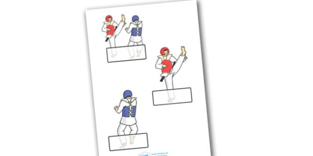 The Olympics Taekwondo Self Registration - Taekwondo, Olympics, Olympic Games, sports, Olympic, London, 2012, Self registration, register, editable, labels, registration, child name label, printable labels, activity, Olympic torch, events, flag, coun
