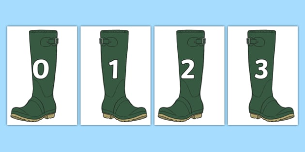 Numbers on Wellies Welly Boots - numbers, 0-20, wellies, welly boots