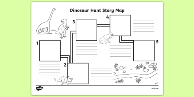 Dinosaur Hunt Story Map Worksheet / Activity Sheet - dinosaur hunt, dinosaur, hunt, story map, activity, worksheet