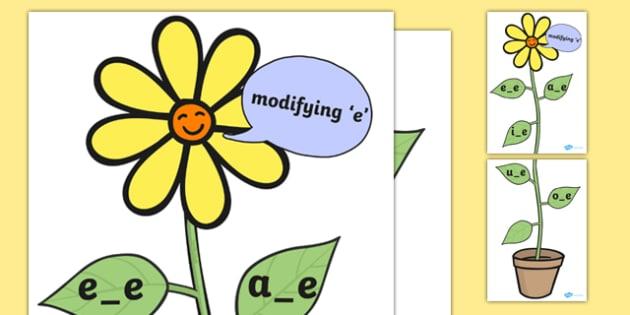 Modifying E Display Flower - Modifying E, flower, sound flower, Phase 5, Phase five, alternative spellings for phonemes
