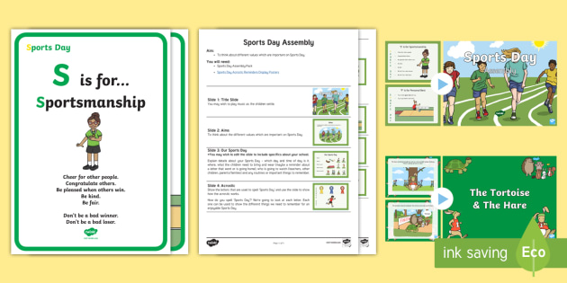KS1 Sports Day Assembly Pack - P.E., Field, Athletic, Values, Facts, Information, Famous Athletes