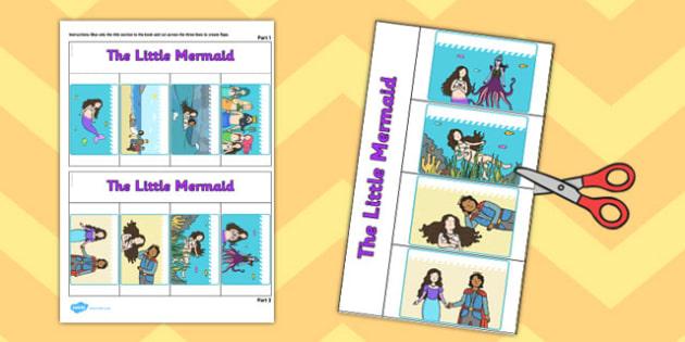 The Little Mermaid Story Writing Flap Book - flap book, mermaid