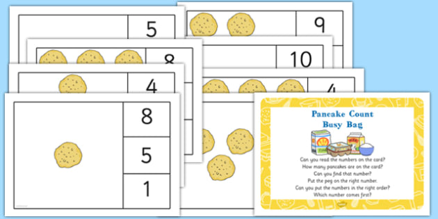 Pancake Count Busy Bag Prompt Card and Resource Pack - shrove Tuesday, count, maths