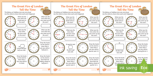 NEW * The Great Fire of London Tell the Time Differentiated