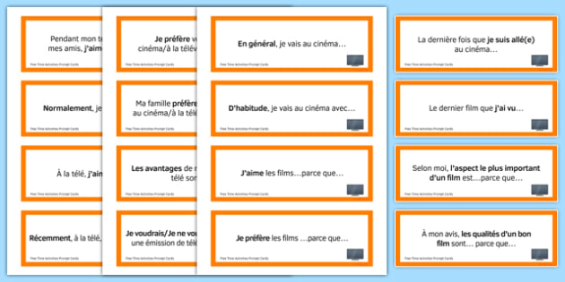 Free-Time Prompt Cards French - Conversation, Speaking, Leisure, Loisirs, Free Time, Hobbies, Temps, Libre, Music, Musique, Cinema, TV, Television, Sport, Eating Out, Restaurant, Cartes