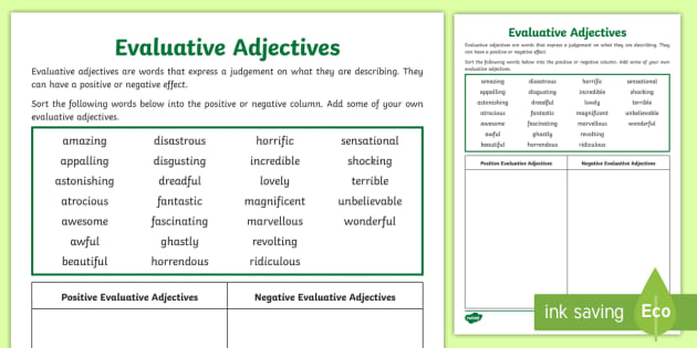 Evaluative Adjectives Sorting Activity
