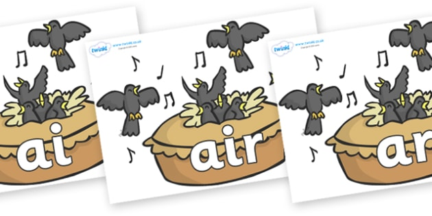 Phase 3 Phonemes on Blackbirds in a Pie - Phonemes, phoneme, Phase 3, Phase three, Foundation, Literacy, Letters and Sounds, DfES, display