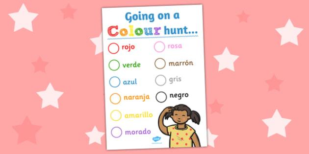 Spanish Colour Hunt Worksheet - spanish, colour, hunt, worksheet