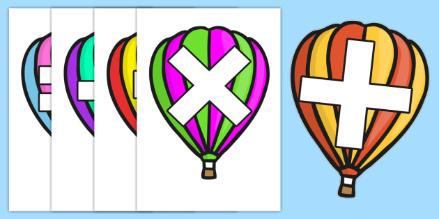 Maths Signs on Hot Air Balloons - Maths, math, signs, symbols, plus, minus, equals, divide, times, numeracy, Maths signs, Foundation numeracy, Maths Vocab