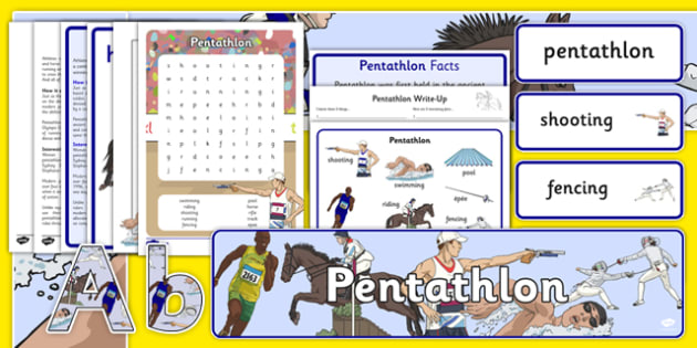 The Olympics Pentathlon Resource Pack Pentathlon, Olympics, Olympic Games, sports, Olympic, London, 2012, resource pack, pack resources, activity, Olympic torch, events, flag, countries, medal, Olympic Rings, mascots, flame, compete