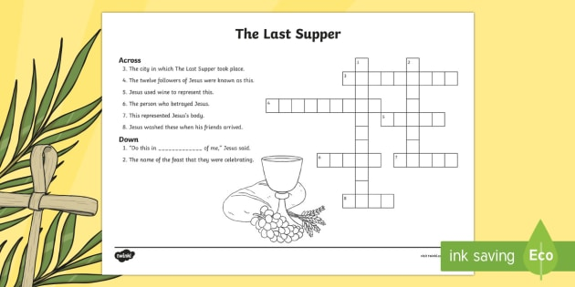 KS2 The Last Supper Crossword