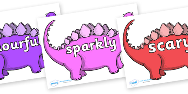 Wow Words on Stegosaurus - Wow words, adjectives, VCOP, describing, Wow, display, poster, wow display, tasty, scary, ugly, beautiful, colourful sharp, bouncy