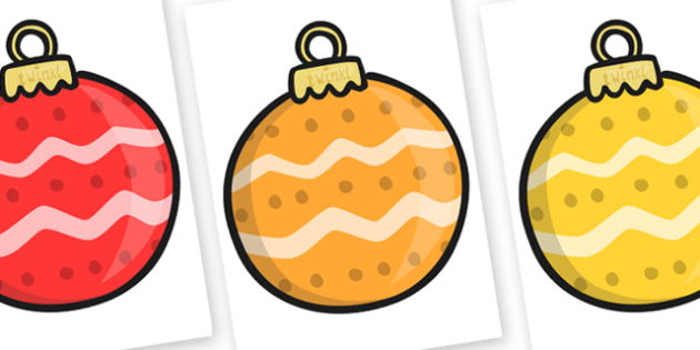 Christmas A4 Baubles Patterned Editable  - christmas, baubles