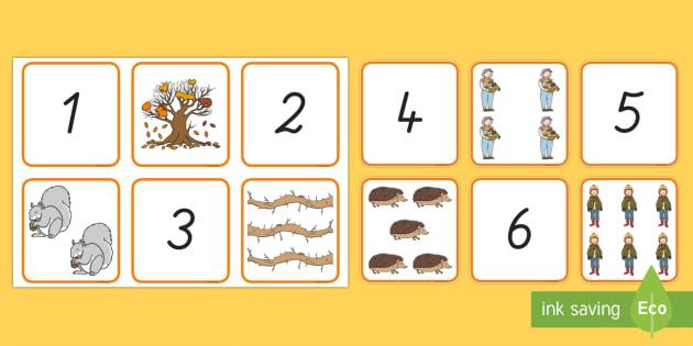 Herbst: Zahlen und Bilder 1 bis 10 Puzzle Spiel - Mathematik: Zahlen, German