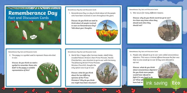 NEW * KS2 Remembrance Day Fact and Discussion Cards - world