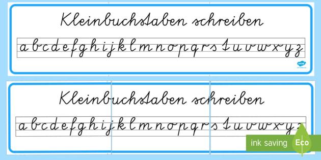 Kleinbuchstaben in Schreibschrift schreiben Banner für die