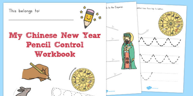 Chinese New Year Themed Line Handwriting Worksheets - australia