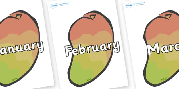 Months of the Year on Mangoes - Months of the Year, Months poster, Months display, display, poster, frieze, Months, month, January, February, March, April, May, June, July, August, September